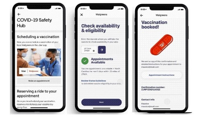 Uber and Walgreens Launch New Nationwide Vaccine Appointment and Ride Scheduling Feature Through the Uber app in USA